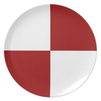 Red and White Rectangles Plate
