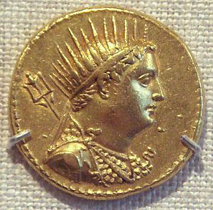 Coin of Ptolemy IV Philopator, depicting his d...