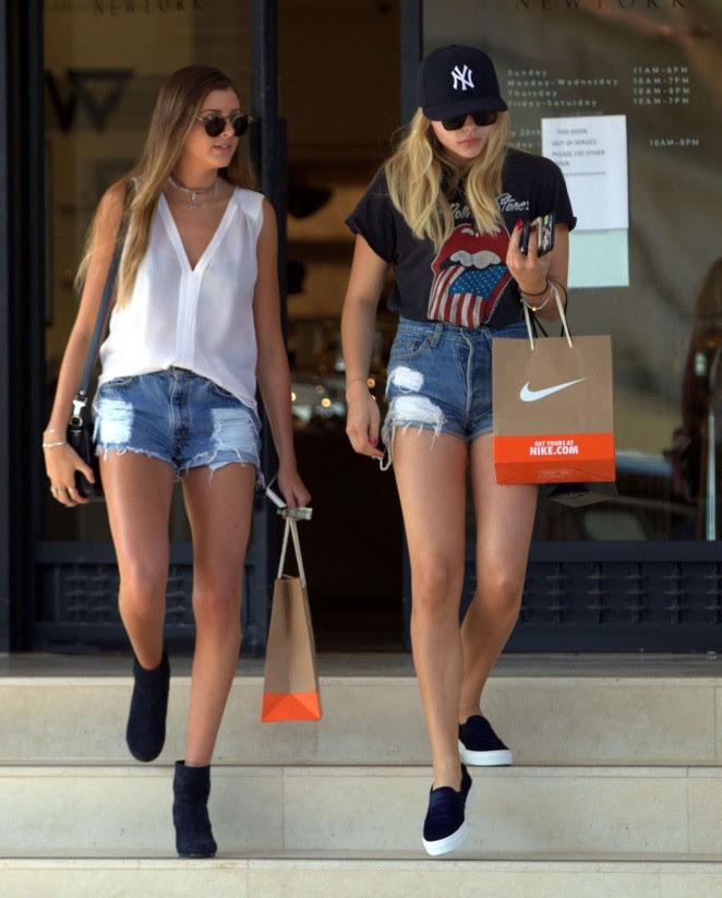 Chloe Moretz in Jeans Shorts -03