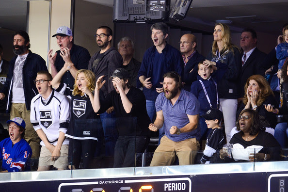 Chloe Grace Moretz (L-R) Ethan Moretz, Chloe Moretz, Jason Reitman, Jay R. Ferguson and Retta attend a hockey game between the New York Rangers and the Los Angeles Kings in Game Two of the 2014 NHL Stanley Cup Final at the Staples Center on June 7, 2014 in Los Angeles, California.