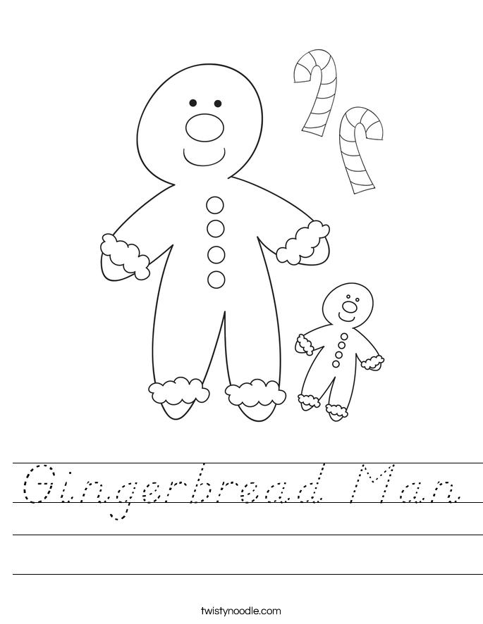 Gingerbread Man Worksheet - D'Nealian - Twisty Noodle