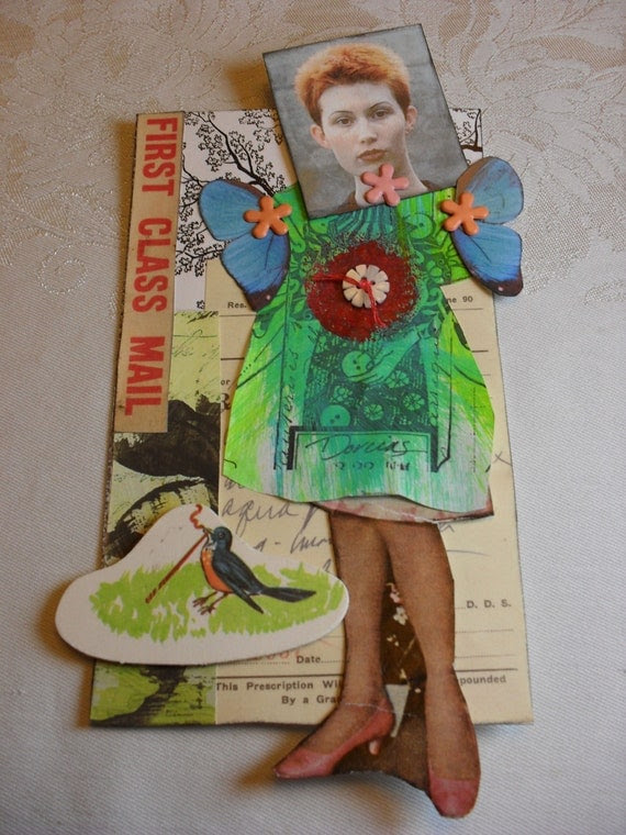 Postcard / Mixed Media Doll, Moveable Paper Doll,  Mail Art, Early Bird