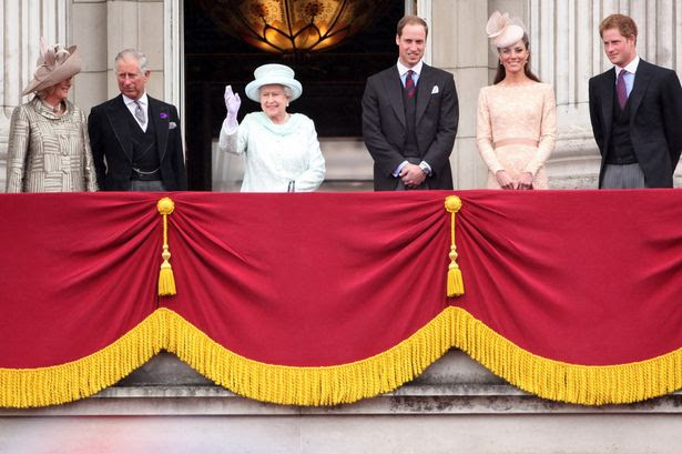 Camilla, Prince Charles, Queen Elizabeth II, Prince William, Catherine, Duchess of Cambridge and Price Harry wave to the crowds from Buckingham Palace