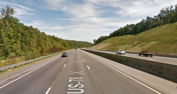 The witness was eastbound along I-20 on this stretch of roadway between Birmingham and Atlanta near Pell City when the object was first seen about 10:56 p.m. on January 25, 2015. (Credit: Google)