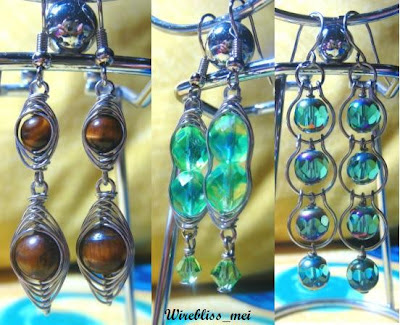 Wire Wrapped Dangle Earrings with fire polished glass Czech beads