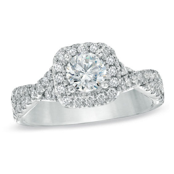 Vera Wang Love Collection 1 Ct Tw Diamond Frame Engagement Ring
