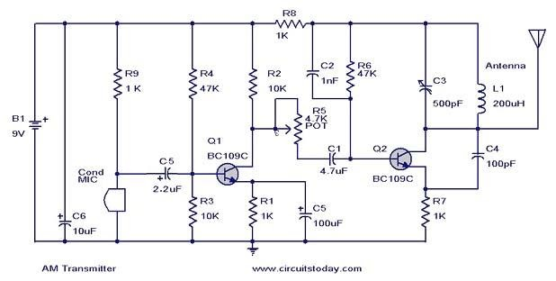 wiring pre circuit diagram  am transmitter circuit