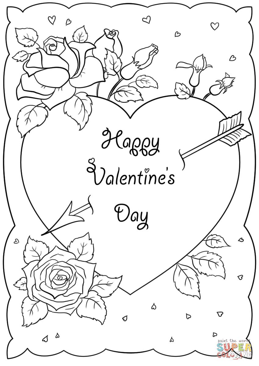 Dibujo De Tarjeta Feliz Día De San Valentín Para Colorear