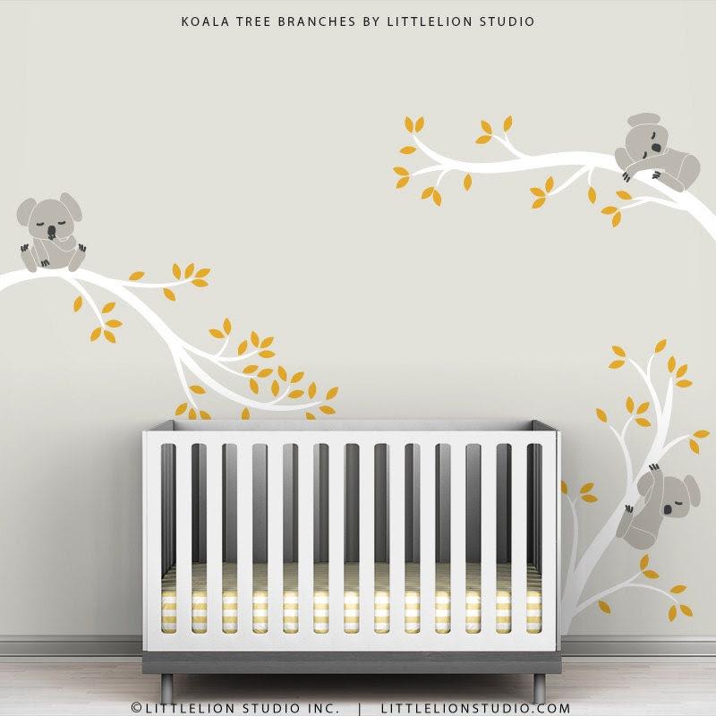 Kids Wall Decals Gray White and Dark Yellow Baby by TheKoalaStore