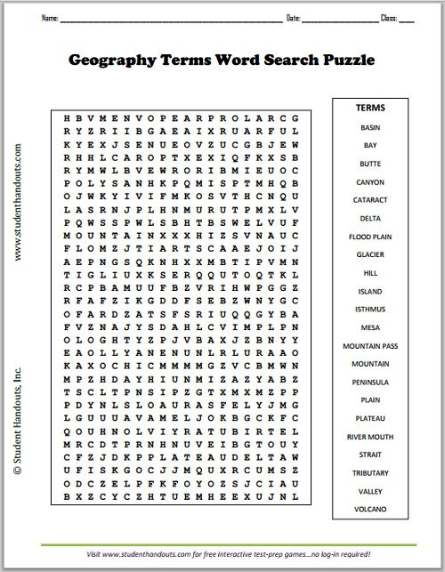 Geography Terms Word Search Puzzle | Social Studies | Pinterest ...