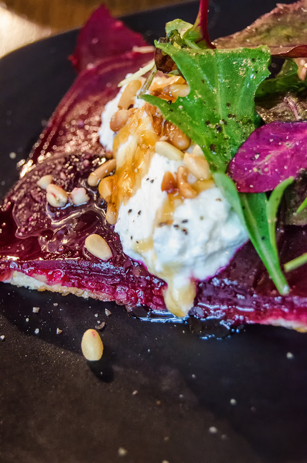 Beet tarte with oat-milk curds and pine nuts @ Bread Street Kitchen - London