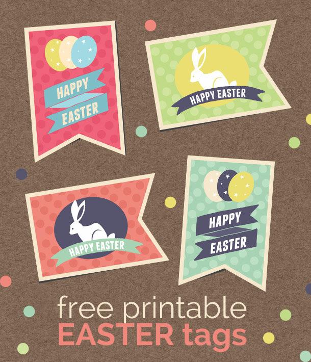 free printable retro easter tags