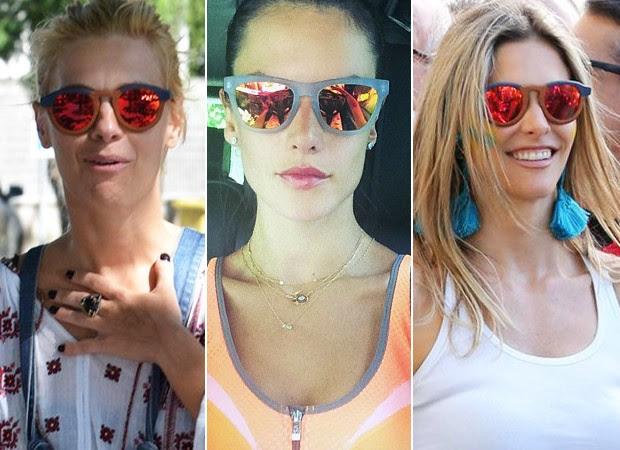 [MODA] Óculos Espelhado Colorido - Carol Dieckmann, Alessandra Ambrósio e Fernanda Lima (Foto: William Oda/Agnews - Instagram / Reprodução - Andre Freitas / AgNews)