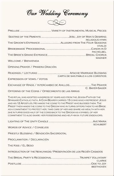 Spanish Wedding Program Examples Catholic Wedding Program