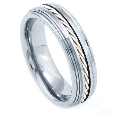 8mm Tungsten Carbide Band 925 Silver Cable Inlay Step Edge