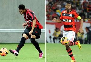montagem Léo Atlético-PR Léo Moura Flamengo (Foto: Editoria de Arte)