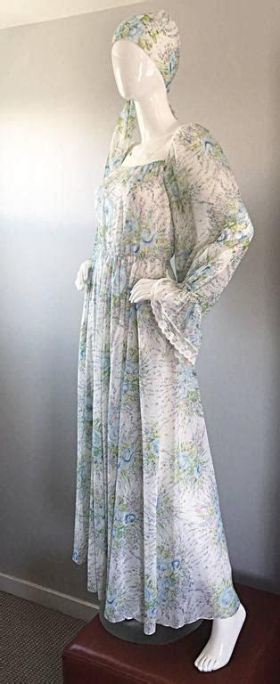 Vintage Oscar de la Renta 1970s Cotton Voile   Silk Boho