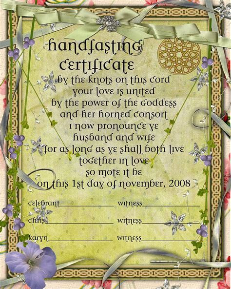 handfasting certificate free   Google Search   (?) Spells