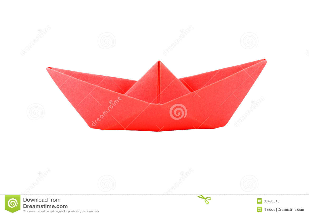 Origami Red Paper Boat Royalty Free Stock Photo - Image: 30486045