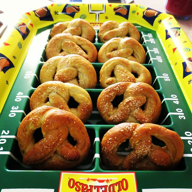 Game time: my homemade soft pretzels are ready to take the field. #superbowl
