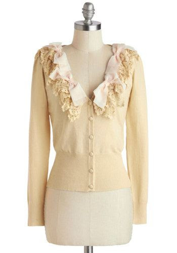 Born to be Adorned Cardigan - Short, Cream, Solid, Buttons, Work, Long Sleeve, Casual, Vintage Inspired, Fairytale