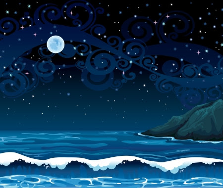 Night seascape with waves, island and full moon on a starry sky background Stock Vector - 16712875