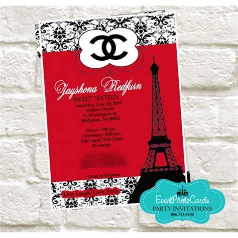 Paris Chanel Quinceanera Invites, Fashion Couture Red & Black