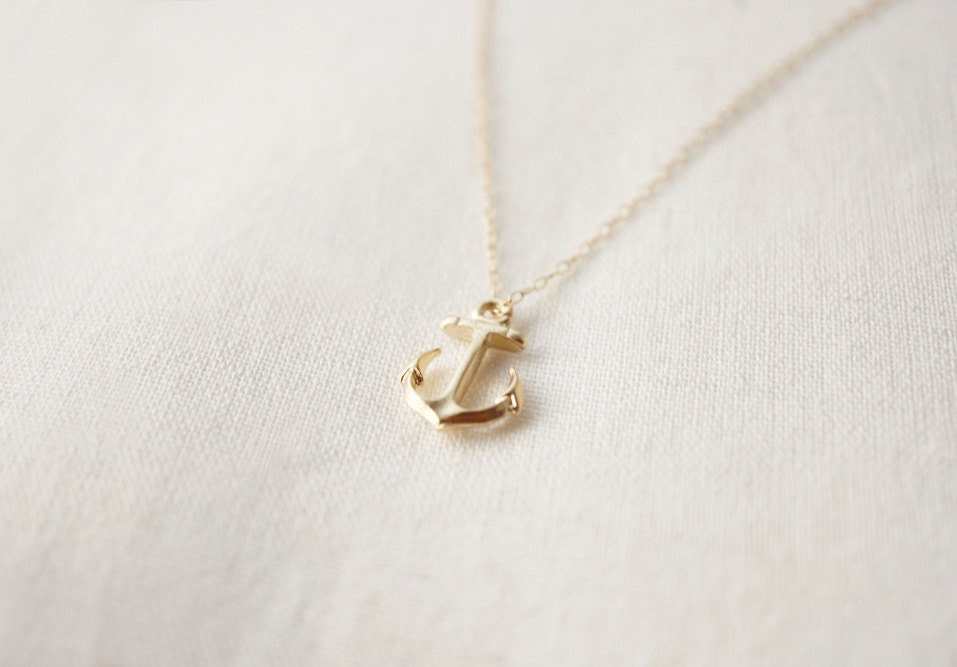 Little Anchor Necklace - 14K Gold Filled Chain // (Anchored)