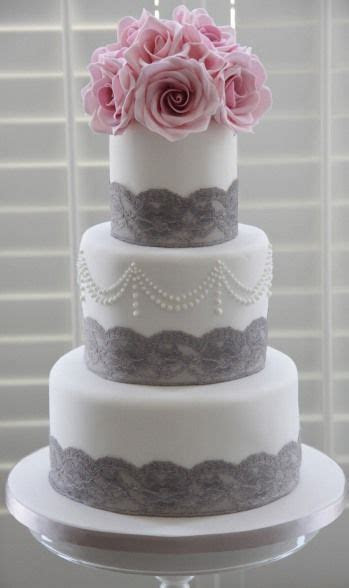 White cake with grey lace accents   Cakes   Wedding cakes