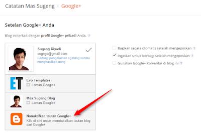 Nonaktifkan tautan Google+