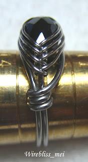 Herringbone Weave Ring with black onyx