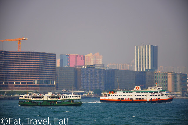 Star Ferry and First Ferry Passing Kowloon (East Tsim Sha Tsui)