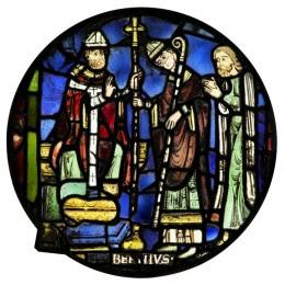 St Birinus receiving a cross-staff, nIII 2b, Dorchester Abbey, c.1250. © C.B. Newham