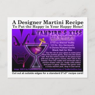 Vampire's Kiss Martini Recipe Postcard postcard