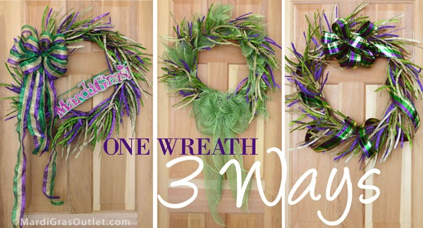 party ideas by mardi gras outlet mardi gras glitter leaf wreath three different ways. Black Bedroom Furniture Sets. Home Design Ideas