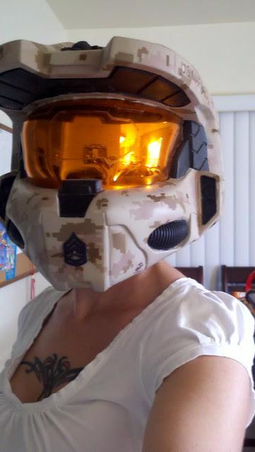 Sheryl Test Fitting Her New Brain Bucket