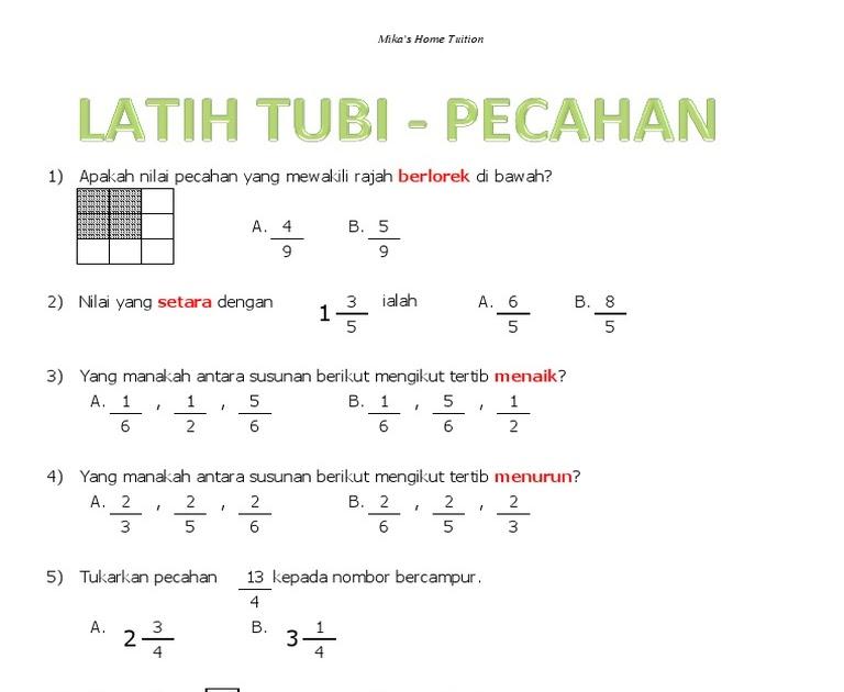 Soalan Matematik Tahun 4 Pecahan Viral Blog F