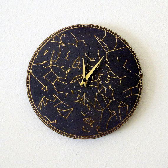 Constellation Wall Clock, Home and Living, Black, Gold, Astrology, As…