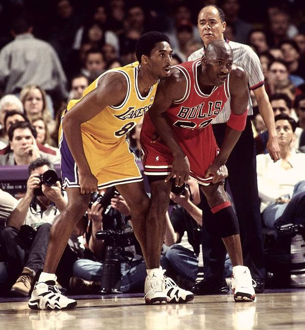 The Black Mamba and Air Jordan defend against each other during a Lakers game in Kobe's early years.