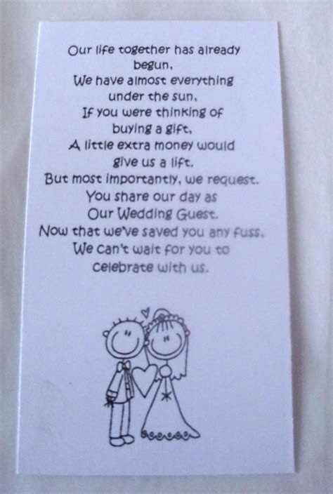 50 Small Wedding Gift Poem Cards asking for Money Bride