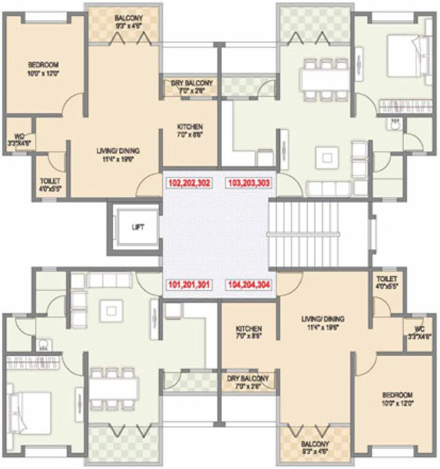 Gulmohar County Talegaon 1 BHK Flat with Dry Balcony Floor Plan 448 Carpet + 59 Balcony