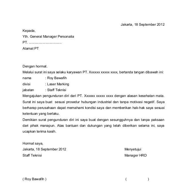 Contoh Surat Pengunduran Diri Dari Organisasi Masyarakat