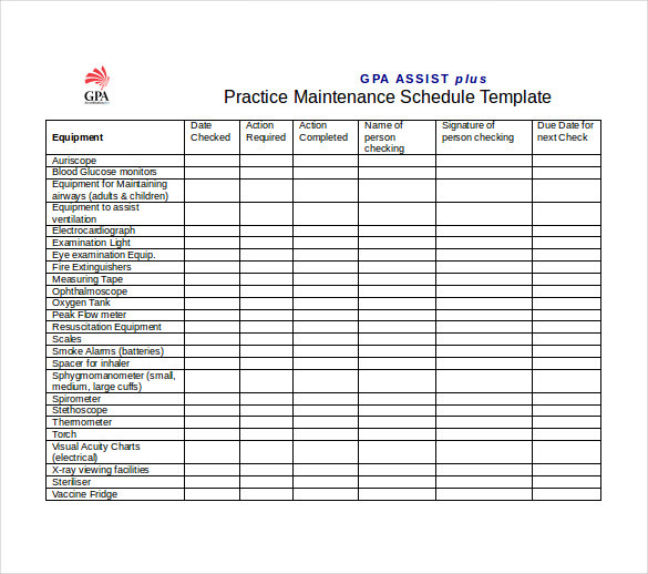 preventive maintenance schedule template excel gpa practice maintenance schedule word template free download ZQWNrH