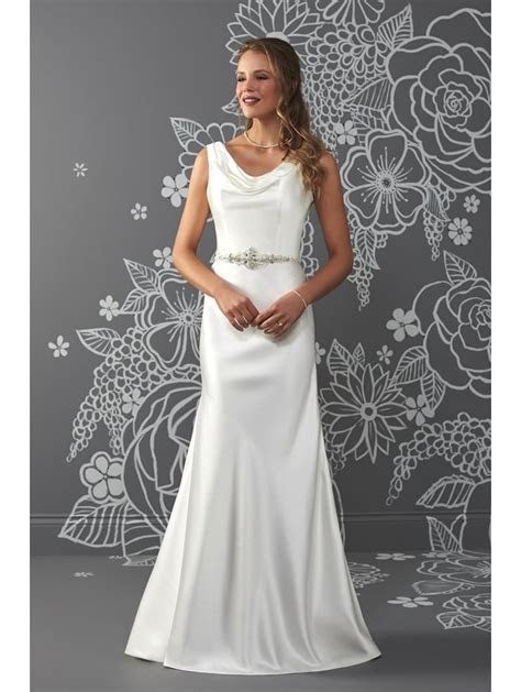 Romantica Audrey Satin Sheath Bridal Gown With Cowl Neck Ivory