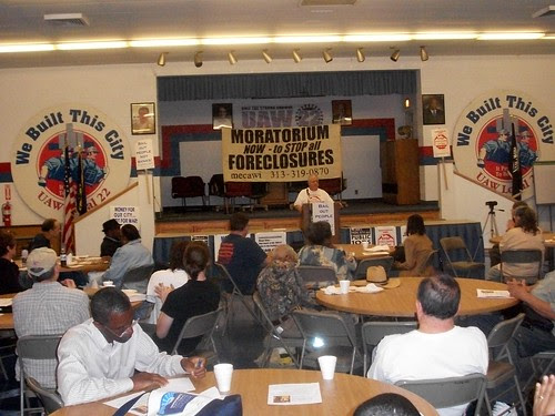 """Moratorium NOW! Coalition conference held at UAW Local 22 on """"How the Banks Destroyed Detroit."""" The event took place on June 11, 2011. (Photo: Abayomi Azikiwe) by Pan-African News Wire File Photos"""