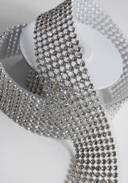 Diamond Ribbon Trim with Glass Stones 1 3/8in x 41in 8 Rows