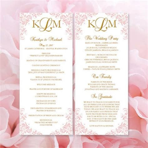 printable kaitlyn wedding program template blush pink