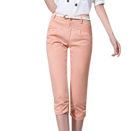 Women's Belt Loop Mid Waist Button Closure Shirred Sides Capri Pants Pink (Size M \/ 8)