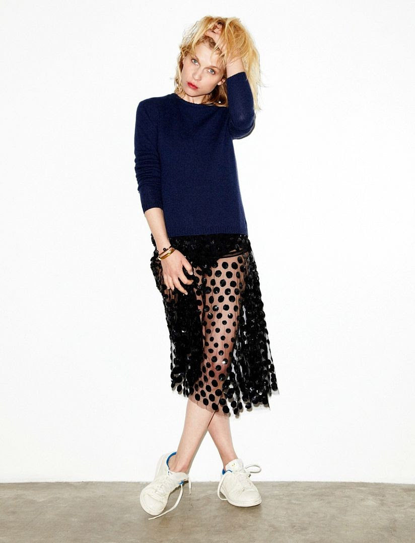 Le Fashion Blog -- Clemence Poesy for Madame Figaro in a sheer polka dot skirt and Adidas Stan Smith sneakers -- photo Le-Fashion-Blog-Clemence-Poesy-Madame-Figaro-Sheer-Polka-Dot-Skirt-Adidas-Stan-Smith-Sneakers.jpg