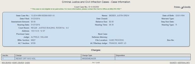 Processo de Justin Bieber (Foto: Reprodução/Site Miami Dade Clerk)